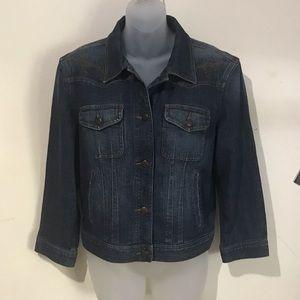 Lauren Jeans Co Embroidered Denim Jacket, Size XL